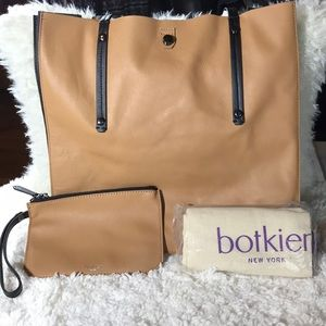 Botkier leather tote caramel black  - NWT